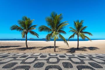 Wall Mural - Famous Ipanema Mosaic Sidewalk With Palm Trees in the Beach, in Rio de Janeiro, Brazil