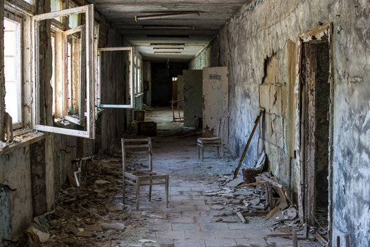 Corridor of abandoned middle school in Pripyat city in Chernobyl Exclusion Zone, Ukraine