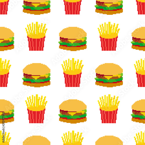 Seamless Pixel Art Hamburger And Fries Pattern Stock Image And