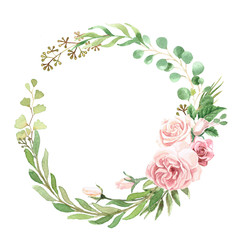 Watercolor Floral Greenery Wreath