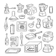 Vector hand drawn kitchen utensils doodle icons set illustration