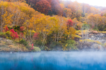 Jigokunuma Pond crater lake at Aomori in Autumn season