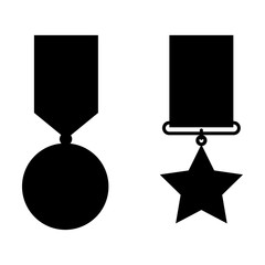 medal with stars award vector illustration design