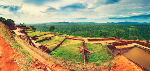 Sigiriya rock. Top view. Panorama