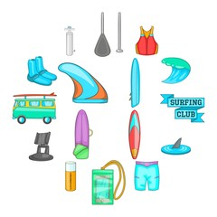 Surfing icons set. Cartoon illustration of 16 surfing vector icons for web