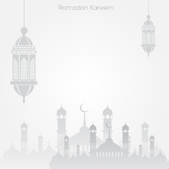 Ramadan Kareem greeting design with mosque and arabic lamp. Vector.