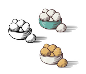 Stylized hand drawn illustration of eggs in a bowl. Outline and colored version. Isolated vector image