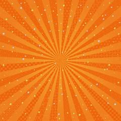 オレンジ 放射状 金銀ちりばめた和風背景