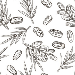 Seamless pattern with date fruits and palms