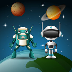 Two robot cartoon together  in the space