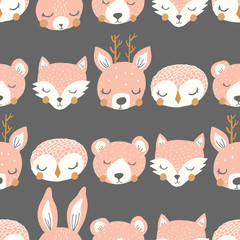 vector sleepy animal stripe pink repeat pattern background
