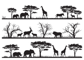 Animals forest silhouette at savanah