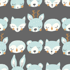 vector sleepy animal stripe blue and gray repeat pattern background