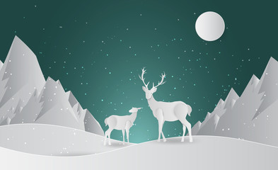 Deer silhouette standing on a hill.Night full moon on the background. Animal silhouette. paper art style. Happy New Year and Merry Christmas