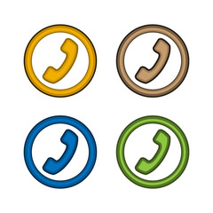 Telephone icon in circle, Communication icon Vector.