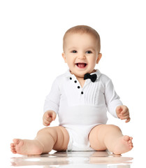8 month infant child baby boy toddler sitting in white shirt and black tie isolated