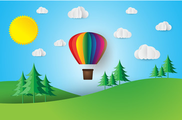 Origami made hot air balloon. paper art style.