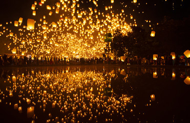 Most famouse event YIPENG festival in Chiangmai, Thailand.