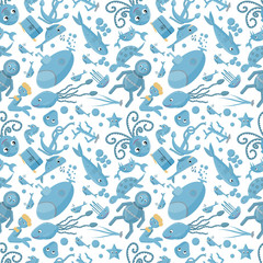 seamless pattern flat_4_illustration on the theme of marine life, underwater life, white background
