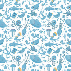 seamless pattern flat_5_illustration on the theme of marine life, underwater life, white background