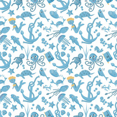 seamless pattern flat_6_illustration on the theme of marine life, underwater life, white background