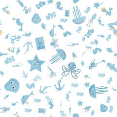 seamless pattern flat_9_illustration on the theme of marine life, underwater life, white background
