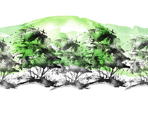 Seamless watercolor pattern. Autumn landscape, forest, park. Silhouettes of trees and bushes. Green colors. Linear curb.