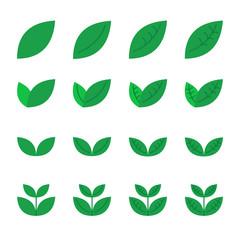 leaf icons set. vector illustration.