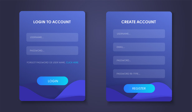 Login form page. Web form set