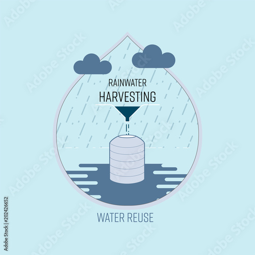 Rainwater harvesting water reuse save water concept vector rainwater harvesting water reuse save water concept vector illustration altavistaventures Gallery