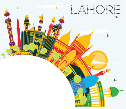 Lahore Skyline with Color Landmarks, Blue Sky and Copy Space.