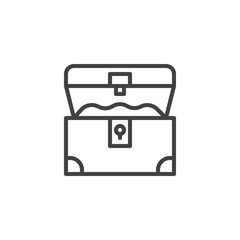 Opened treasure chest outline icon. linear style sign for mobile concept and web design. Pirates chest simple line vector icon. Symbol, logo illustration. Pixel perfect vector graphics