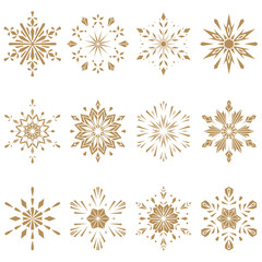 Snowflakes gold icon collection. Graphic vector modern ornament