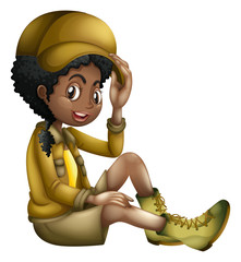 Safari Girl on White Background