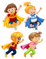 Superhero Kids Play Role on White Background
