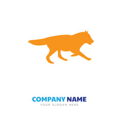 black wolf running company logo design