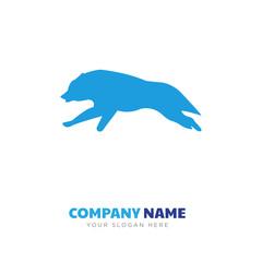 black wolf running company logo design