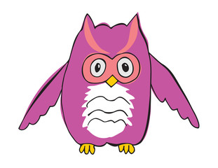 Vector cartoon animal. Sweet little owl.