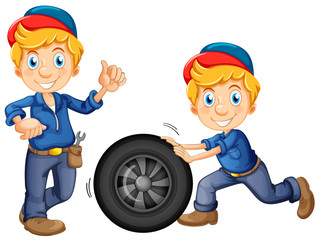 Car Mechanic in Uniform on White Background