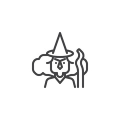 Witch with broomstick outline icon. linear style sign for mobile concept and web design. Halloween simple line vector icon. Symbol, logo illustration. Pixel perfect vector graphics