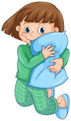 A Girl in Pajamas Hugging Pillow