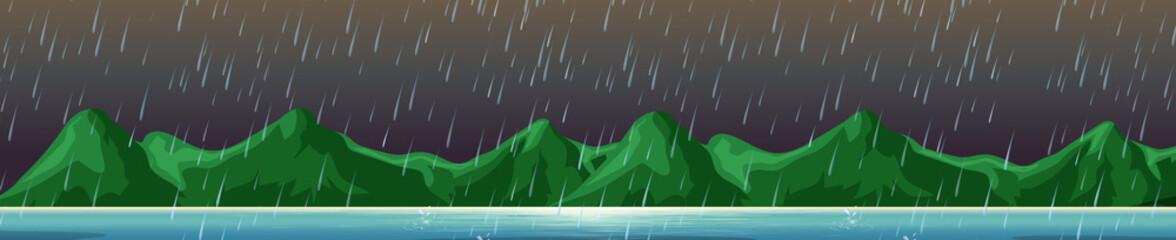 Mountain on the Island Raining Scene
