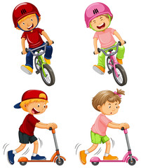 Urban Boys Riding Bicycle and Kick Scooter