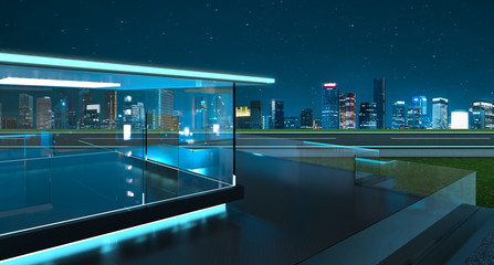 3D rendering of a modern glass balcony with city skyline real photography background, night scene .Mixed media .
