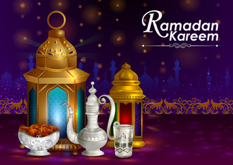Decorated Arabic lantern in Eid Mubarak (Happy Eid) Ramadan background