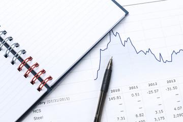 pen, notebook, financial report