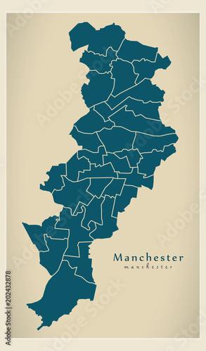 Modern city map manchester city of england with wards uk stock modern city map manchester city of england with wards uk gumiabroncs Image collections