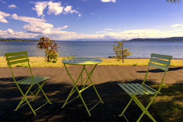 Relax on the beach and view over Lake Taupo, New Zealand