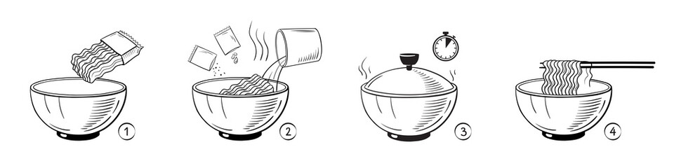 Steps how to cook pasta. Vector illustration.