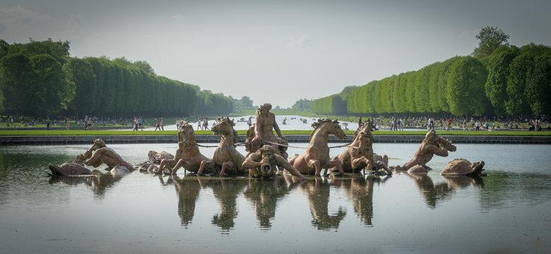 Versailles, France - 04 22 2018: Château de Versailles et son parc, ses bosquets et bassins. Bassin du char d'Apollon